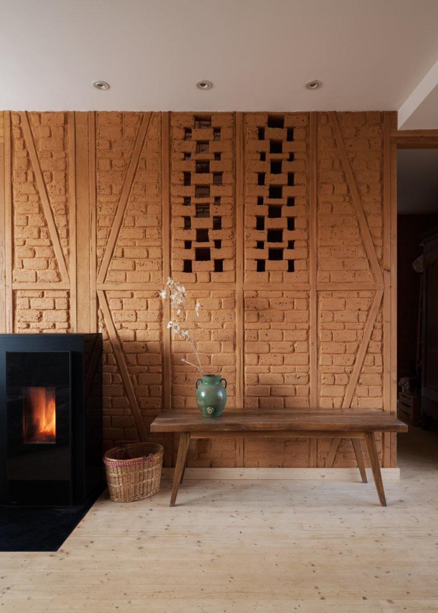 mur mixte, ossature bois, brique d'adobe - habitation à Nozay - atelier Belendant Daubas, architectes